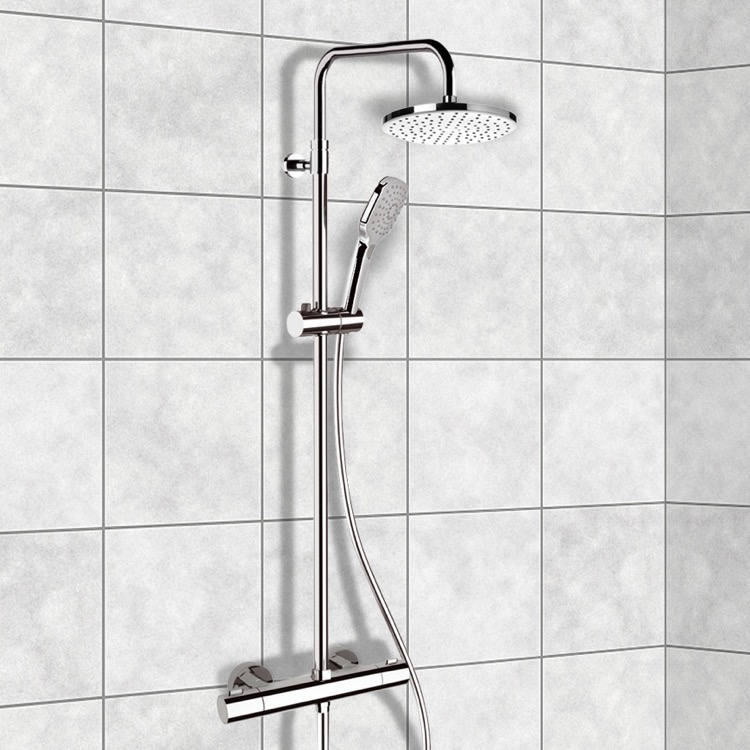 Exposed Pipe Shower, Remer SC501, Chrome Thermostatic Exposed Pipe Shower System with 8