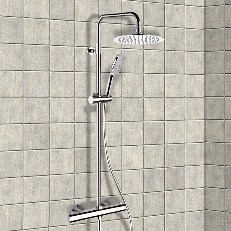 Exposed Pipe Shower, Remer SC506, Chrome Thermostatic Exposed Pipe Shower System with 10