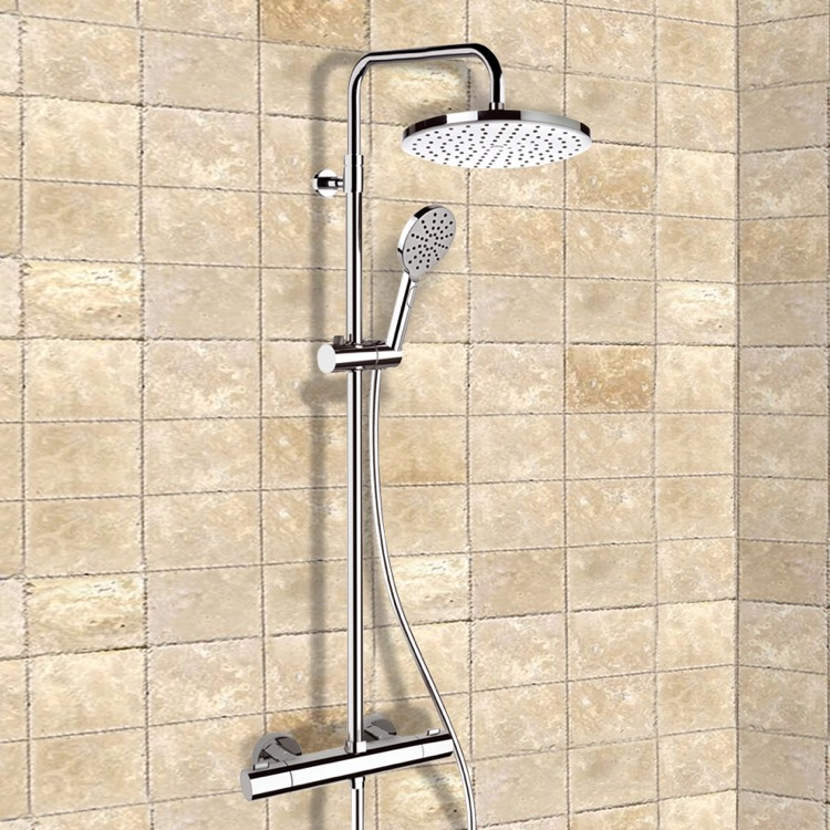 Exposed Pipe Shower, Remer SC509, Chrome Thermostatic Exposed Pipe Shower System with 10