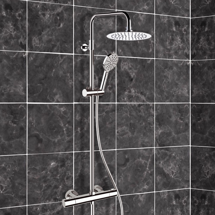 Exposed Pipe Shower, Remer SC511, Chrome Thermostatic Exposed Pipe Shower System with 8