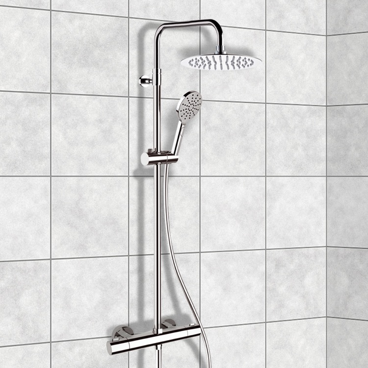 Exposed Pipe Shower, Remer SC512, Chrome Thermostatic Exposed Pipe Shower  System With 10