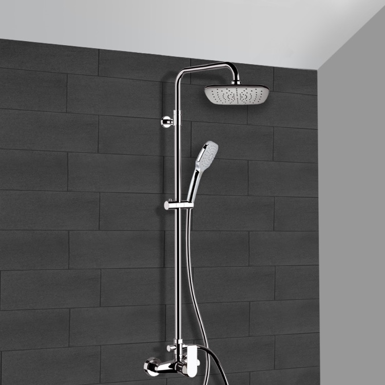 Exposed Pipe Shower, Remer SC514, Chrome Exposed Pipe Shower System with 8