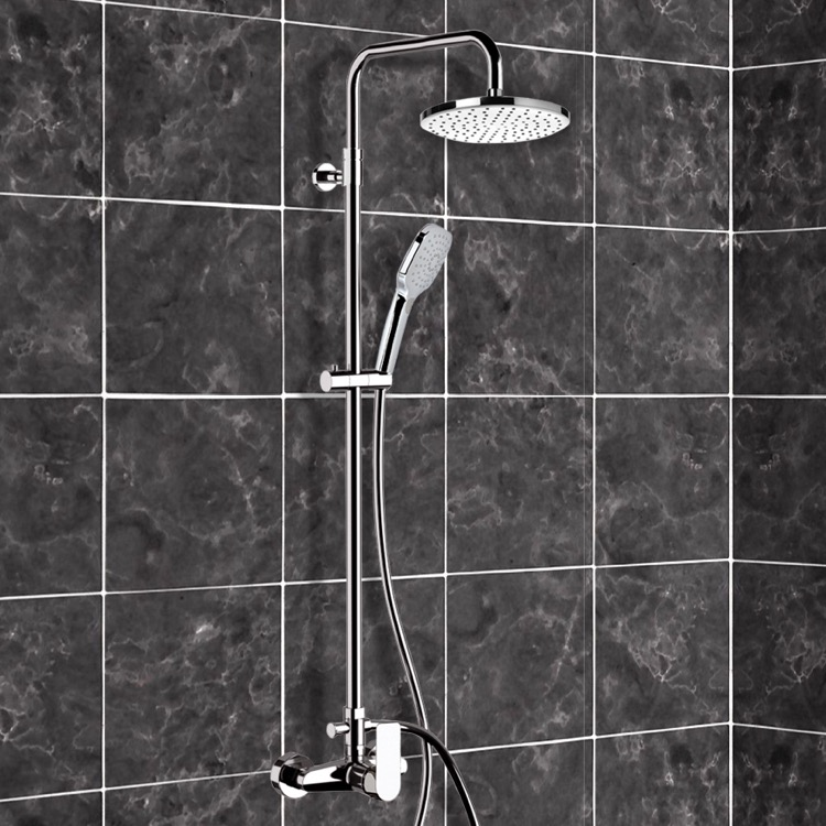 Exposed Pipe Shower, Remer SC515, Chrome Exposed Pipe Shower System with 8