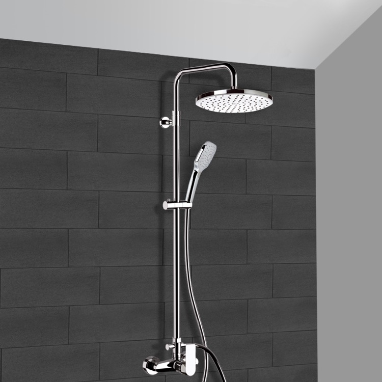 Exposed Pipe Shower, Remer SC516, Chrome Exposed Pipe Shower System with 10