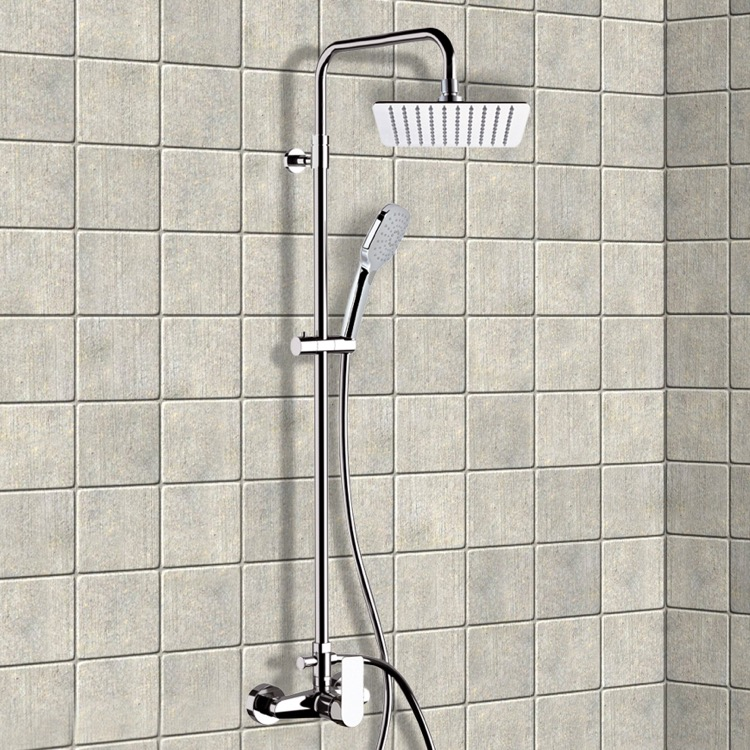 Exposed Pipe Shower, Remer SC517, Chrome Exposed Pipe Shower System with 8