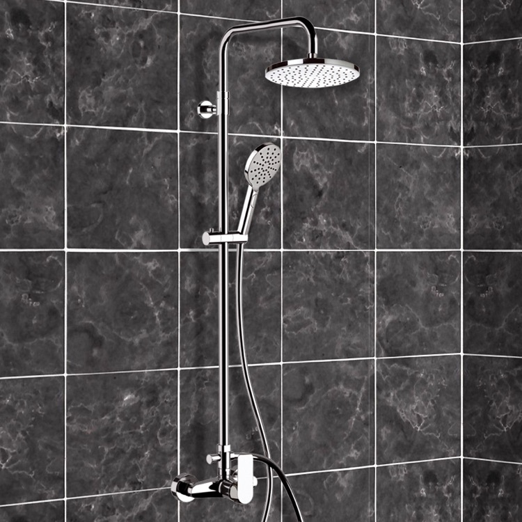 Exposed Pipe Shower, Remer SC520, Chrome Exposed Pipe Shower System with 8