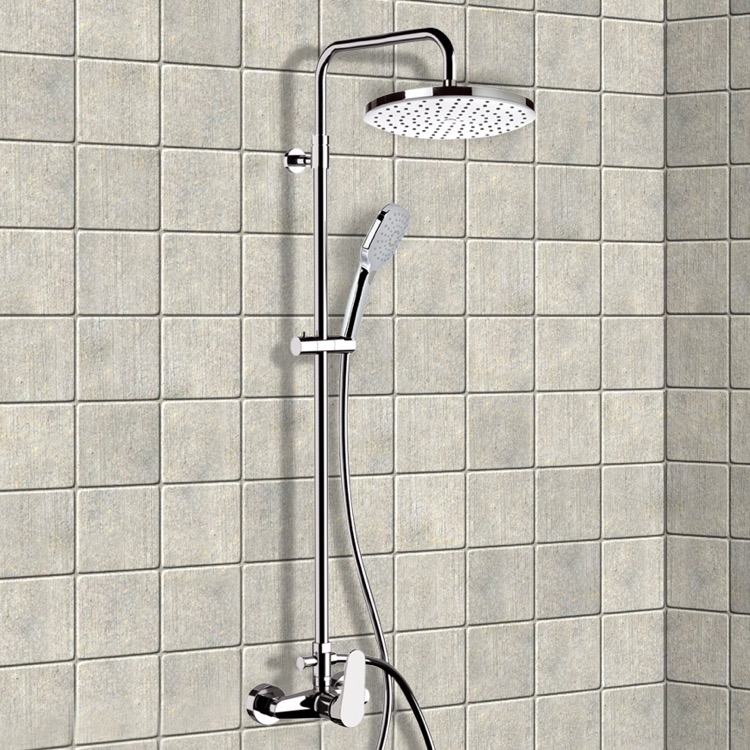 Exposed Pipe Shower, Remer SC526, Chrome Exposed Pipe Shower System with 10