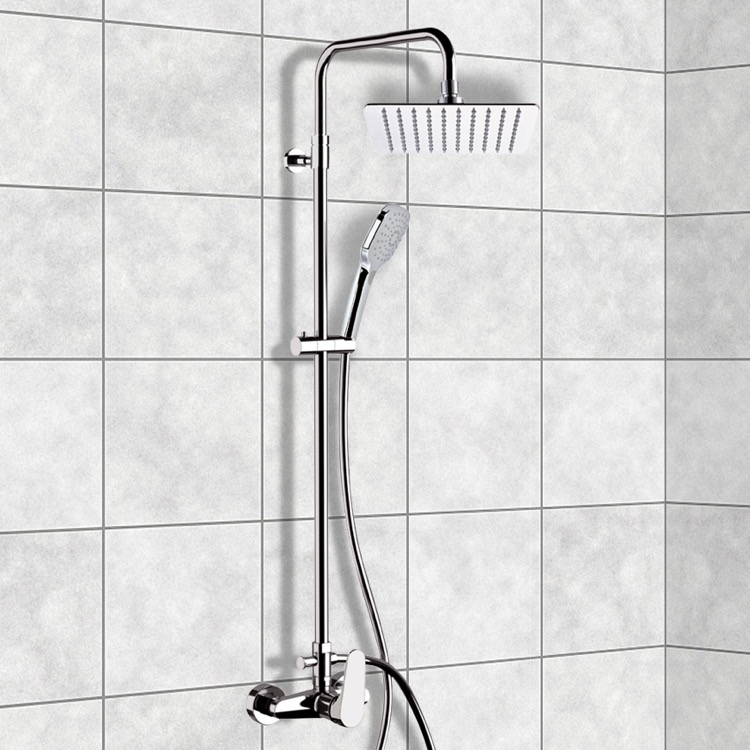 Exposed Pipe Shower, Remer SC528, Chrome Exposed Pipe Shower System with 10