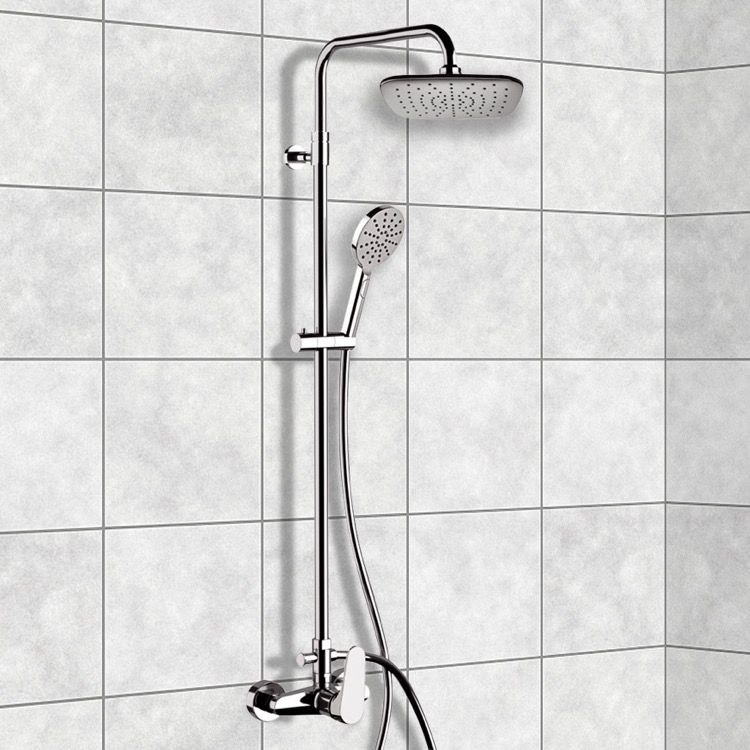 Exposed Pipe Shower, Remer SC529, Chrome Exposed Pipe Shower System with 8