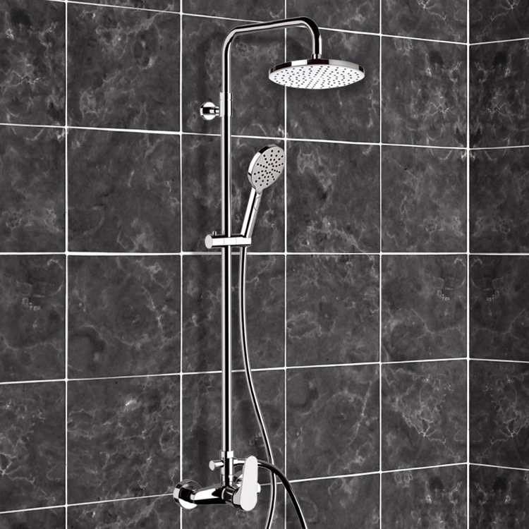 Exposed Pipe Shower, Remer SC530, Chrome Exposed Pipe Shower System with 8