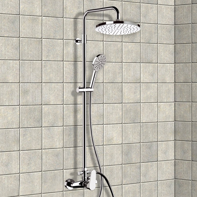 Exposed Pipe Shower, Remer SC531, Chrome Exposed Pipe Shower System with 10