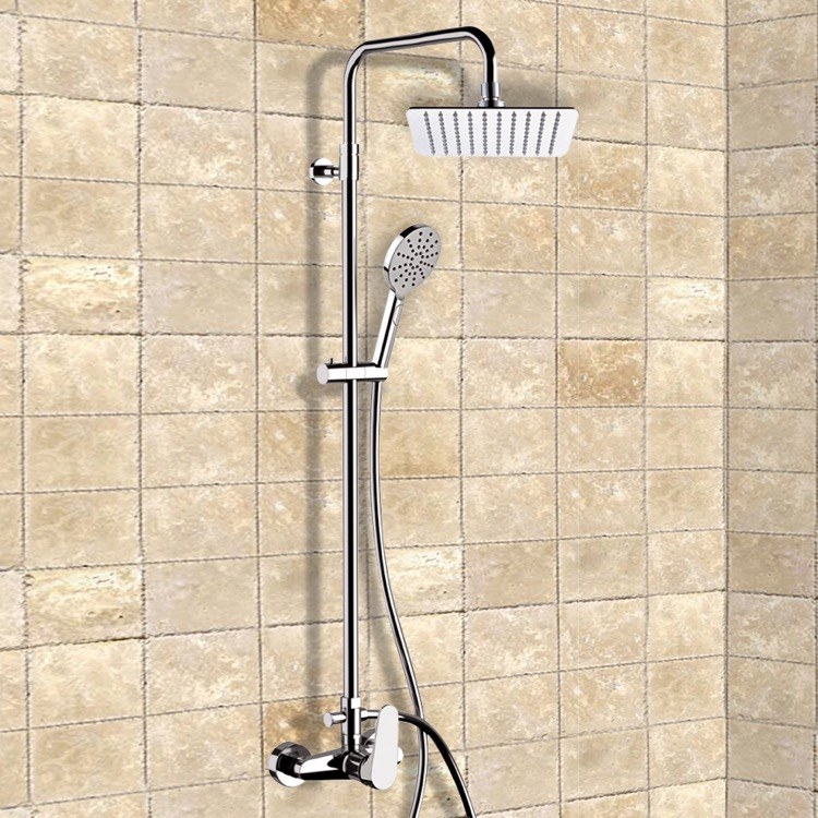 Exposed Pipe Shower, Remer SC532, Chrome Exposed Pipe Shower System with 8