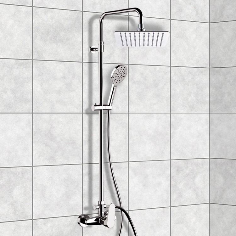 Exposed Pipe Shower, Remer SC533, Chrome Exposed Pipe Shower System with 10