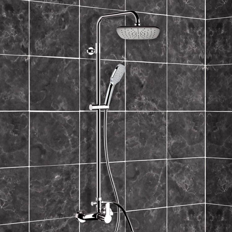 Exposed Pipe Shower, Remer SC534, Chrome Exposed Pipe Shower System with 8