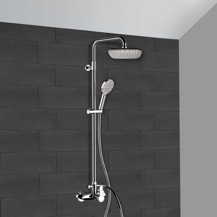 Exposed Pipe Shower, Remer SC540, Chrome Exposed Pipe Shower System with 8
