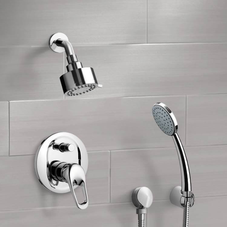 Shower Faucet, Remer SFH08, Chrome Shower System with Multi Function Shower Head and Hand Shower