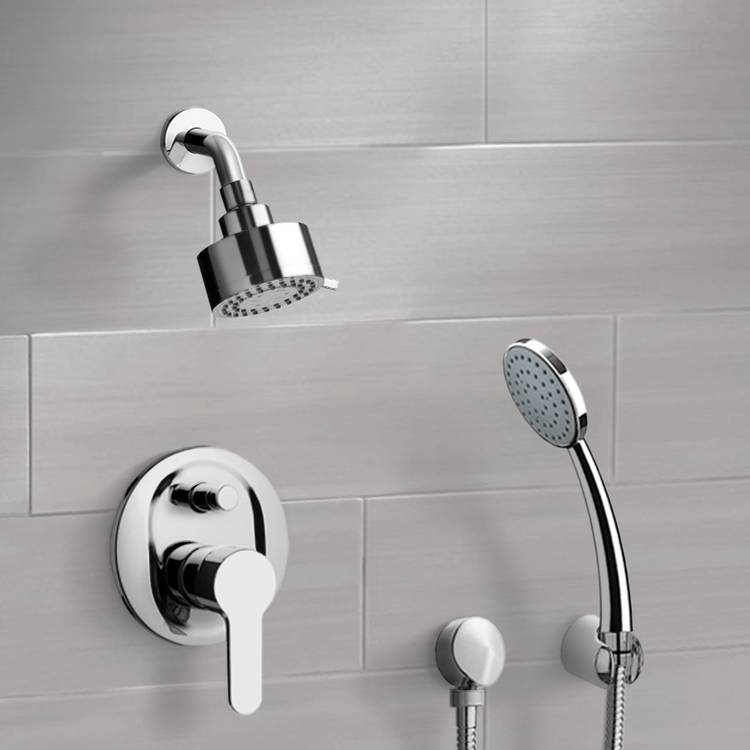 Shower Faucet, Remer SFH09, Chrome Shower System with Multi Function Shower Head and Hand Shower