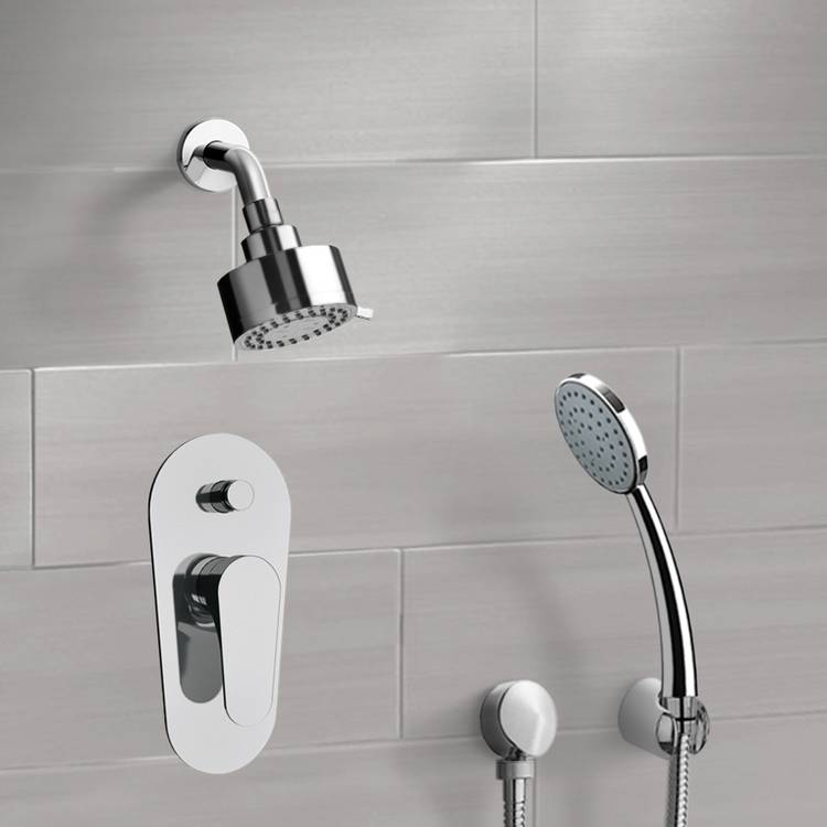 Shower Faucet, Remer SFH12, Chrome Shower System with Multi Function Shower Head and Hand Shower