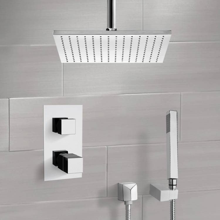 Shower Faucet, Remer SFH6401, Chrome Thermostatic Shower System with Ceiling 12