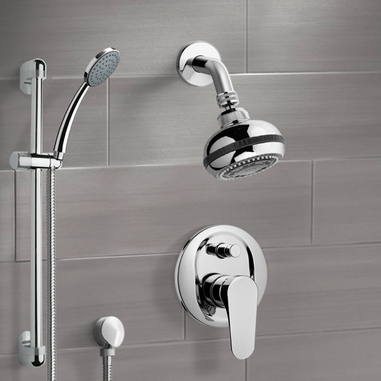 Chrome Shower System with Multi Function Shower Head and Hand Shower ...