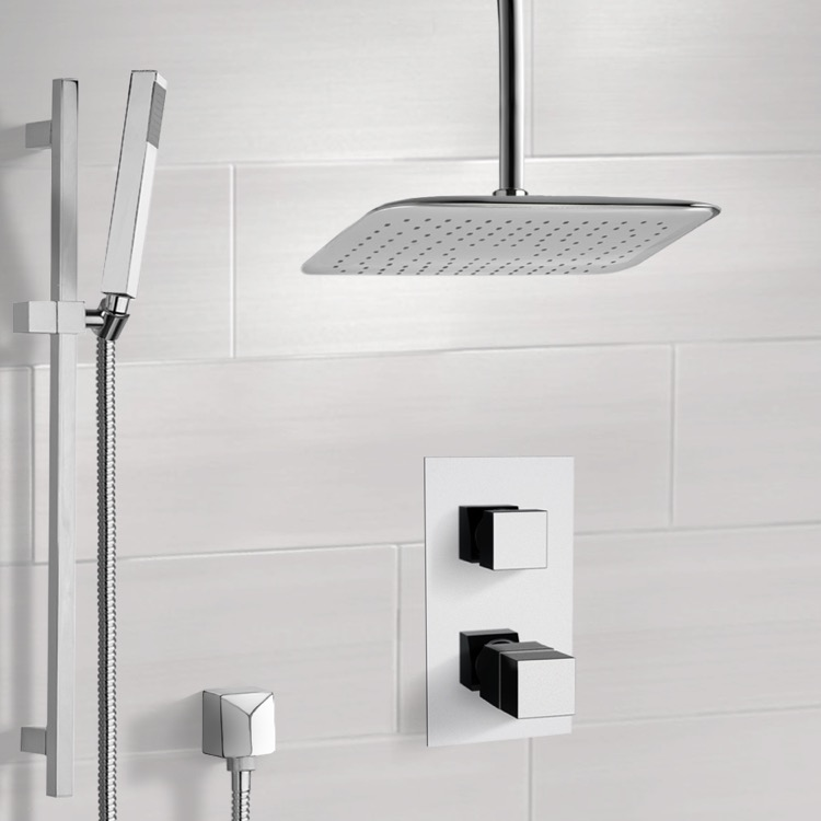 Chrome Thermostatic Shower System with Ceiling 14\