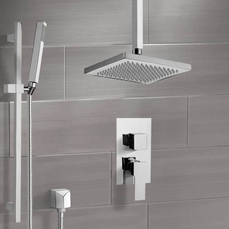 Shower Faucet, Remer SFR7546-CR, Chrome Shower System with Ceiling 9.5