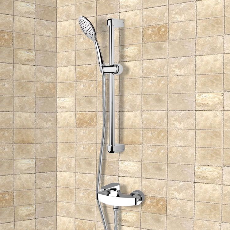 Shower Faucet, Remer SR015, Chrome Slidebar Shower Set With Multi Function Hand Shower