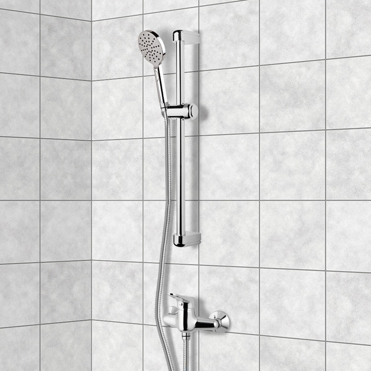 Shower Faucet, Remer SR016, Chrome Slidebar Shower Set With Multi Function Hand Shower