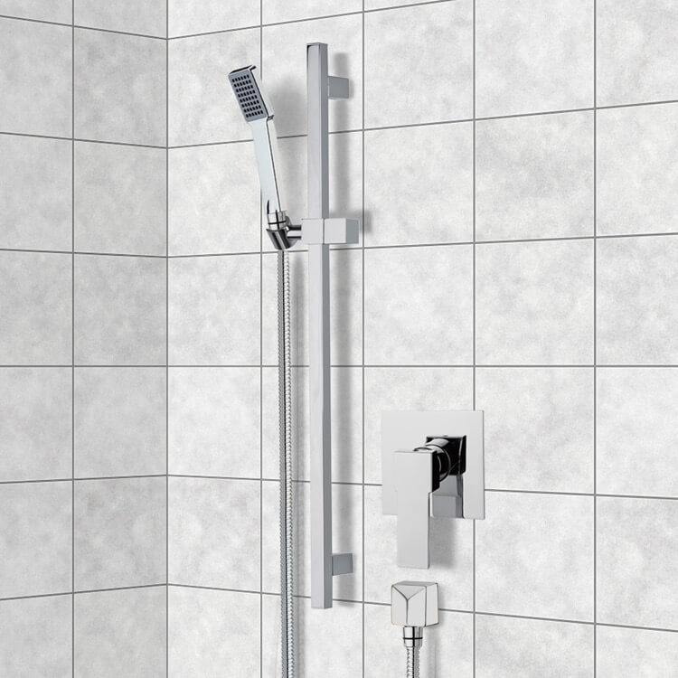 Shower Faucet, Remer SR039, Chrome Slidebar Shower Set With Hand Shower