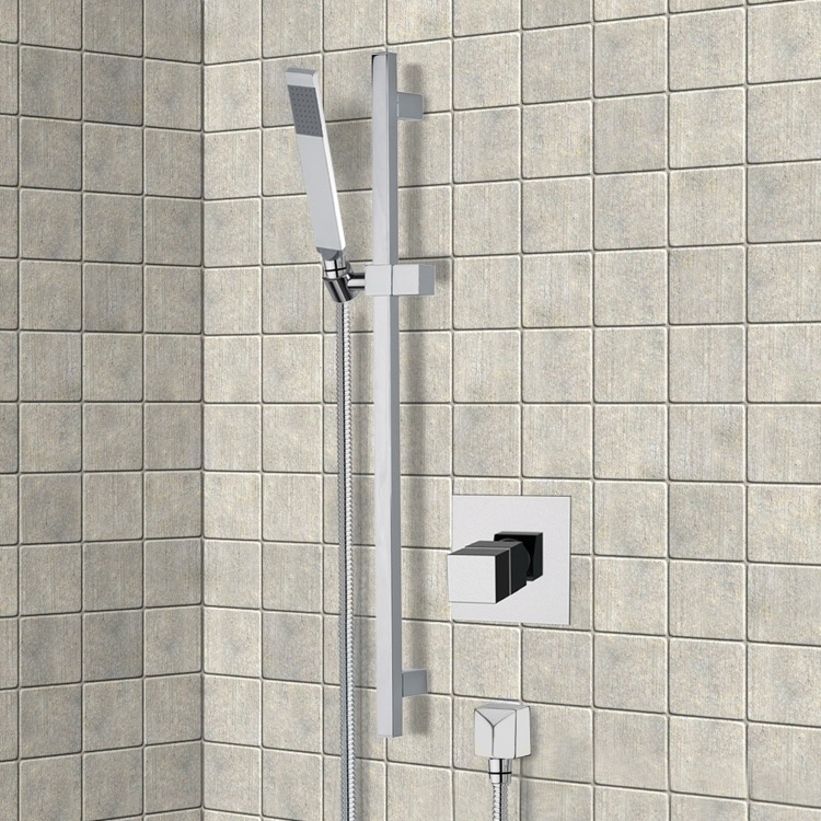 Shower Faucet, Remer SR040, Chrome Thermostatic Slidebar Shower Set With Hand Shower
