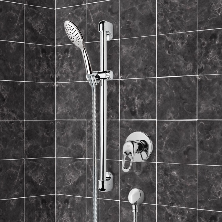 Shower Faucet, Remer SR042, Chrome Slidebar Shower Set With Multi Function Hand Shower