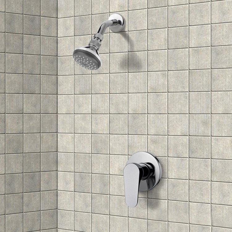 Chrome Shower Faucet Set with Adjustable Shower Head, Remer SS1056 ...