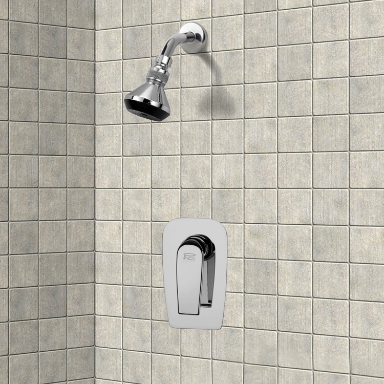 Chrome Shower Faucet Set with Adjustable Shower Head, Remer SS1060 ...