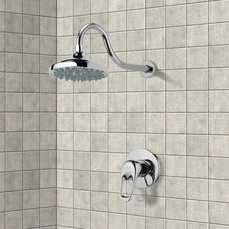 Remer SS1287 By Nameek\'s Mario Chrome Shower Faucet Set with 6\