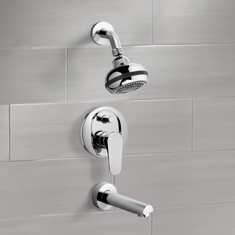 Tub and Shower Faucet, Remer TSF01, Chrome Tub and Shower Faucet Sets with Multi Function Shower Head