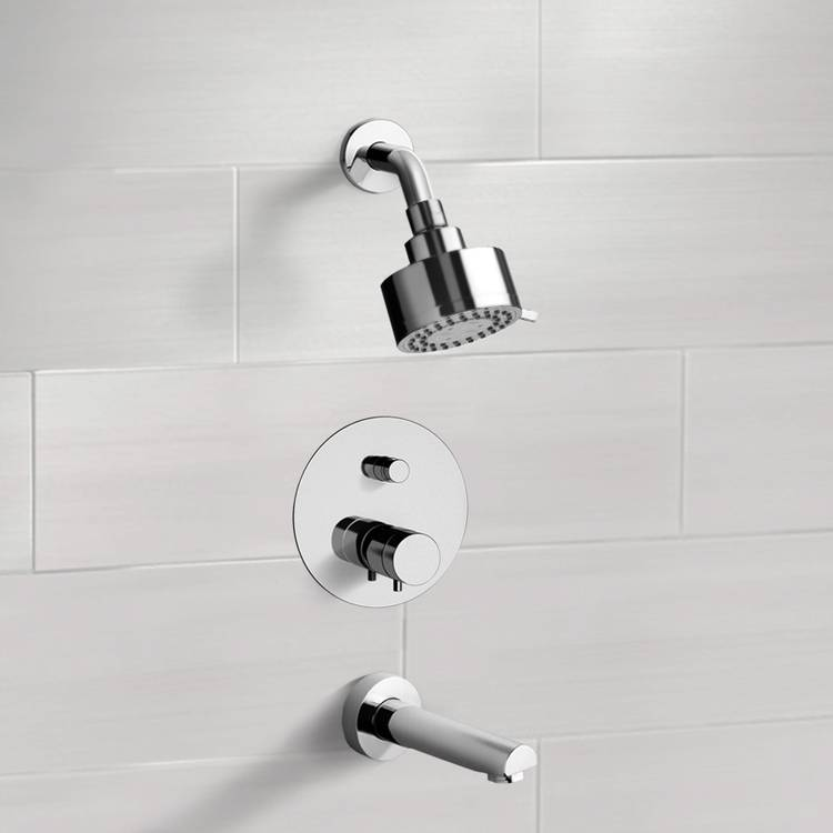 Tub and Shower Faucet, Remer TSF03, Chrome Thermostatic Tub and Shower Faucet Sets with Multi Function Shower Head