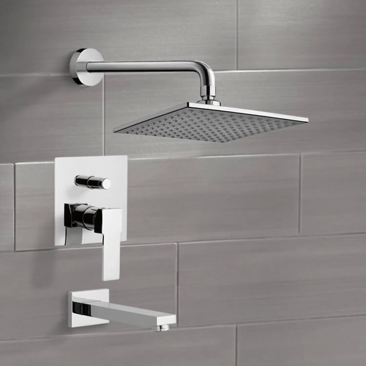 Tub and Shower Faucet, Remer TSF07, Chrome Tub and Shower Faucet Sets with 8