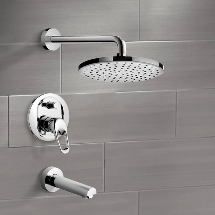 Tub and Shower Faucet, Remer TSF2003-8, Chrome Tub and Shower Faucet Sets with 8