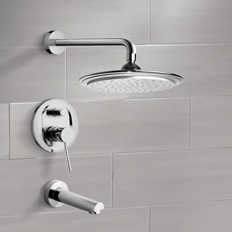 Tub and Shower Faucet, Remer TSF2008, Chrome Tub and Shower Faucet Sets with 9