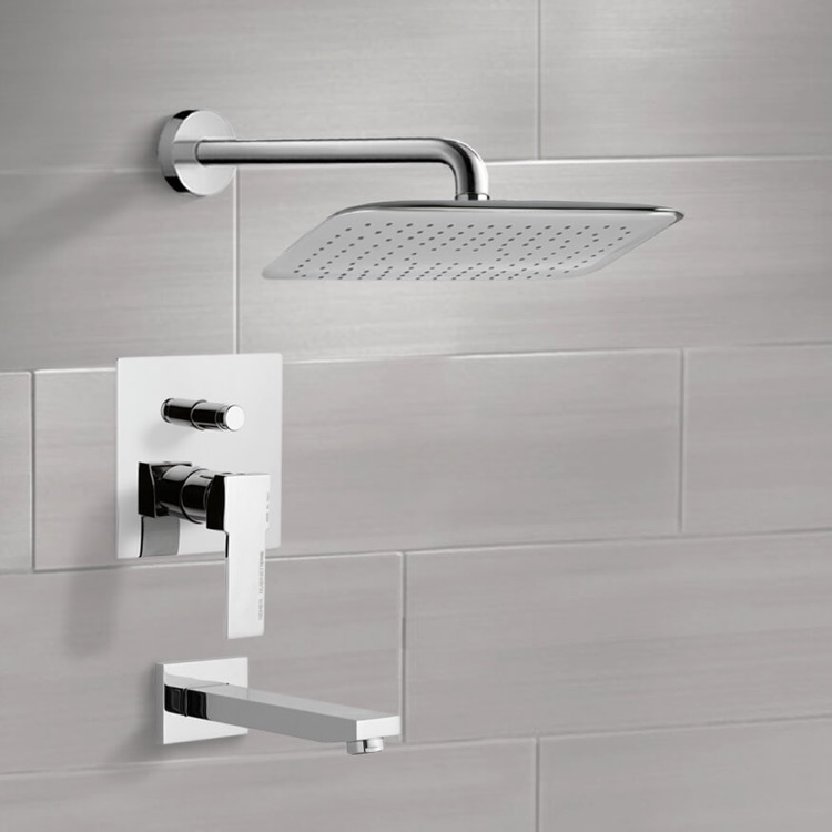 Tub and Shower Faucet, Remer TSF2012, Chrome Tub and Shower Faucet Sets with 14