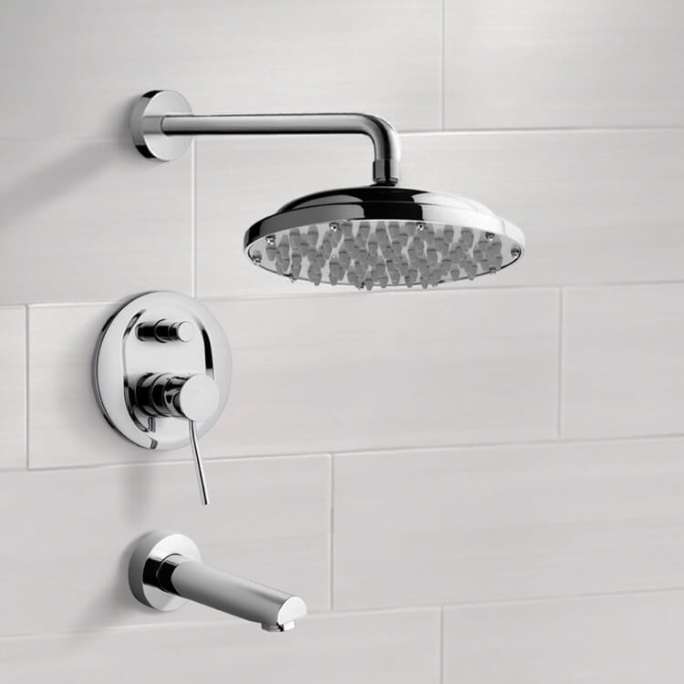 Tub and Shower Faucet, Remer TSF2030, Chrome Tub and Shower Faucet Sets with 9
