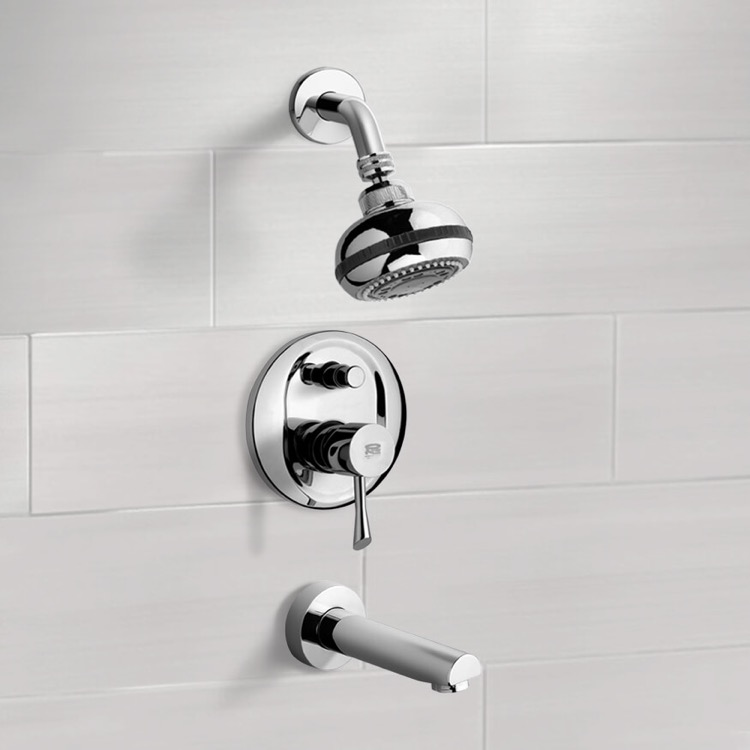 Chrome Tub and Shower Faucet Sets with Multi Function Shower Head ...