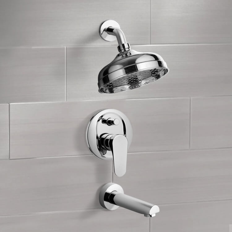 Tub and Shower Faucet, Remer TSF2100-CR, Chrome Tub and Shower Faucet Sets with 8