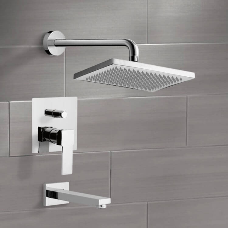 Tub and Shower Faucet, Remer TSF2115-CR, Chrome Tub and Shower Faucet Sets with 9.5