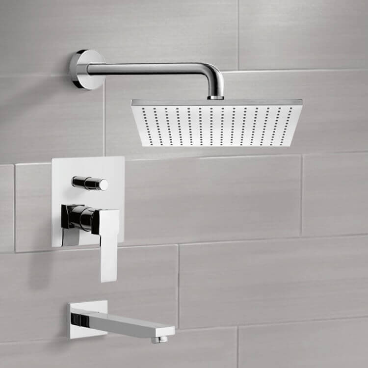 Tub and Shower Faucet, Remer TSF2121-CR, Chrome Tub and Shower Faucet Sets with 12