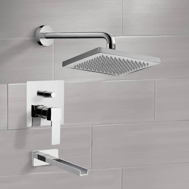 Tub and Shower Faucet, Remer TSF2125-CR, Chrome Tub and Shower Faucet Sets with 8