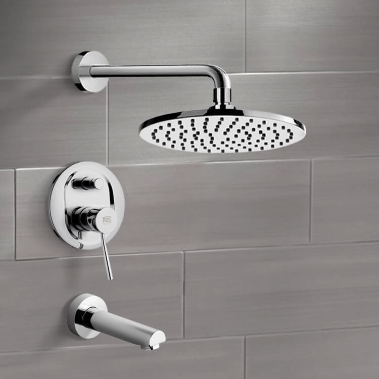 Tub and Shower Faucet, Remer TSF2151-CR, Chrome Tub and Shower Faucet Sets with 8