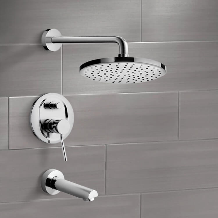 Tub and Shower Faucet, Remer TSF2197-8, Chrome Tub and Shower Faucet Sets with 8