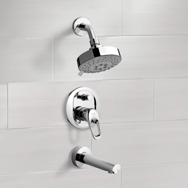 Tub and Shower Faucet, Remer TSF2201, Chrome Tub and Shower Faucet Sets with Multi Function Shower Head