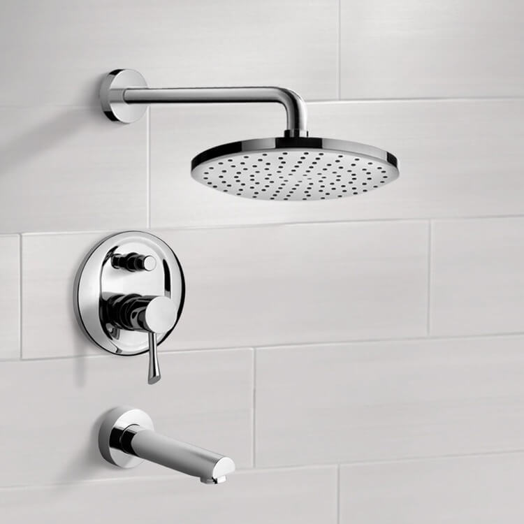 Tub and Shower Faucet, Remer TSF2212-8, Chrome Tub and Shower Faucet Sets with 8